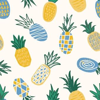 Motif décoratif avec des ananas texturés sur fond clair.