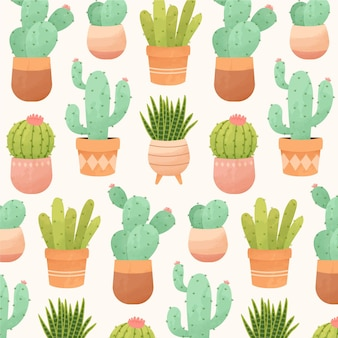 Motif décoratif de cactus aquarelle
