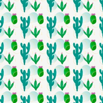Motif décoratif de différentes plantes de cactus