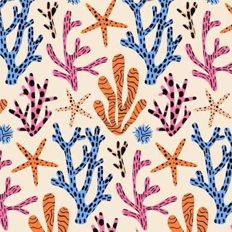 Motif décoratif avec différents coraux