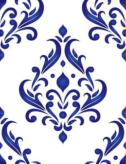 Motif décoratif floral en porcelaine style baroque et damassé