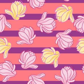 Motif décoratif sans couture avec des fleurs de magnolia roses et jaunes aléatoires