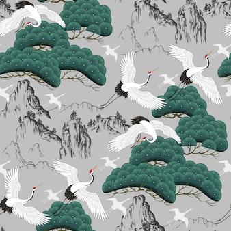 Motif décoratif sans couture avec des grues japonaises