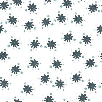 Motif décoratif sans couture avec des silhouettes aléatoires de petites fleurs bleues. toile de fond isolée. ornement dessiné à la main. impression vectorielle à plat pour textile, tissu, emballage cadeau, papiers peints. illustration sans fin.
