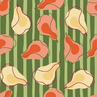 Motif décoratif sans couture avec des silhouettes aléatoires de poires biologiques roses et oranges