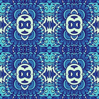 Motif décoratif sans soudure géométrique de carreaux orientaux bleus et blancs, ornements.