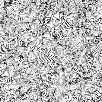 Motif de décoration de feuilles noir et blanc