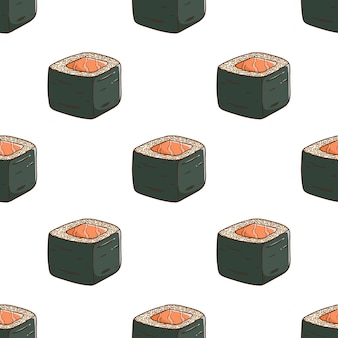 Motif de délicieux sushis avec un style coloré