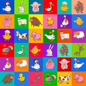 Motif de dessin animé avec des animaux de la ferme
