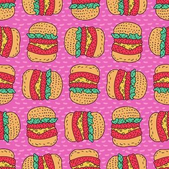 Motif de dessin hamburger. fond de style dessin animé gros burger. ornement de restauration rapide