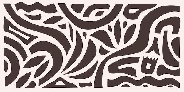 Motif dessiné à la main abstrait horizontal minimaliste impression vectorielle moderne