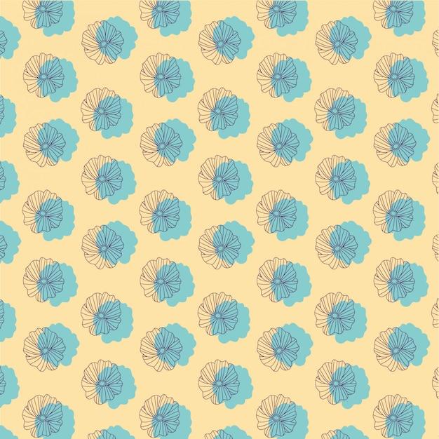 Motif dessiné à la main fleur bleue sur jaune
