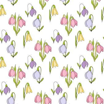 Motif dessiné main floral sans soudure sur fond blanc