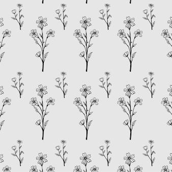Motif dessiné à la main vintage floral organique sauvage