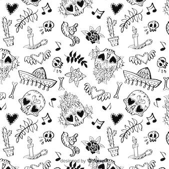 Motif dia de muertos dessiné à la main