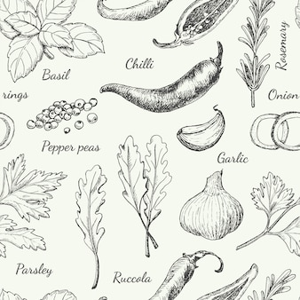 Motif avec différentes épices