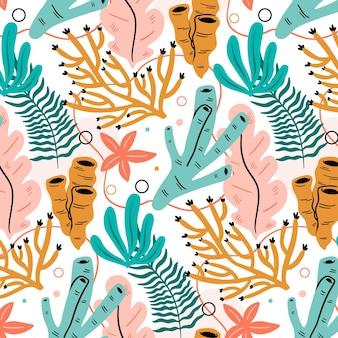 Motif avec différents coraux