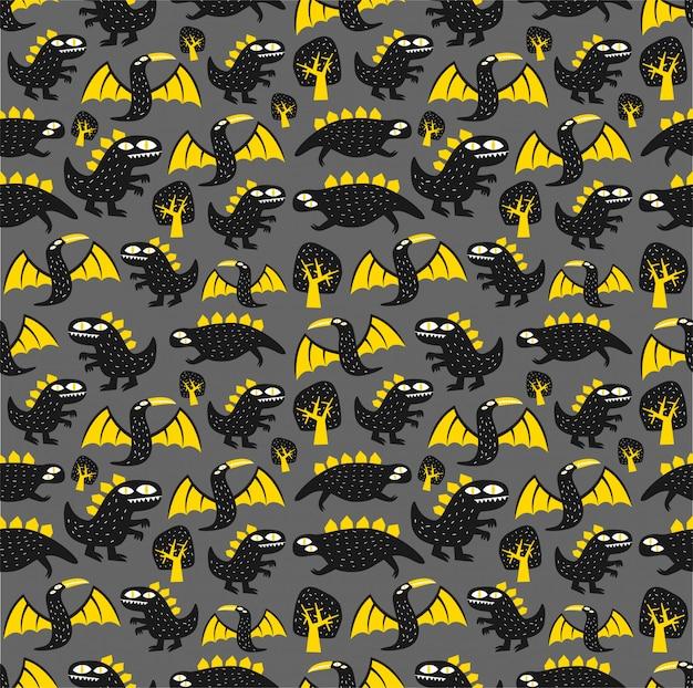 Motif de dinosaure monstre sans soudure