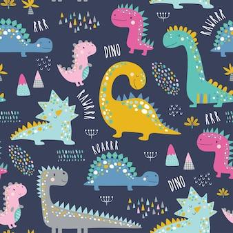 Motif de dinosaures enfants drôles mignons.