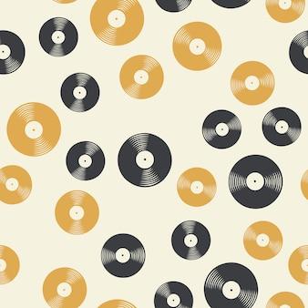 Motif de disques vinyles aléatoires, illustration musicale. couverture créative et luxueuse