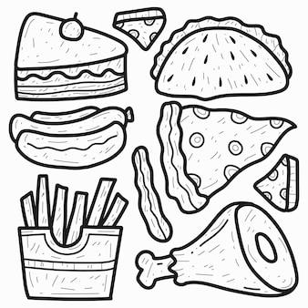 Motif de doodle bébé dessin animé dessiné à la main