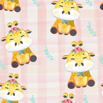 Motif doodle bébé girafe à l'aquarelle.