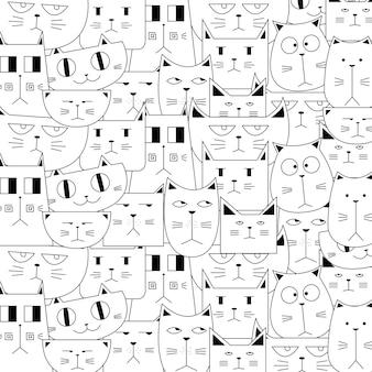 Motif doodle chat mignon