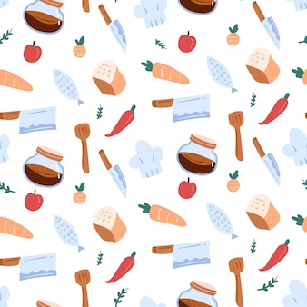 Motif de doodle de cuisine