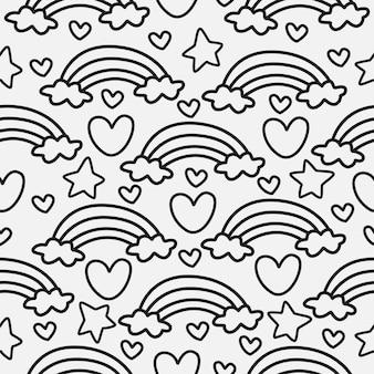 Motif de doodle de dessin animé arc-en-ciel