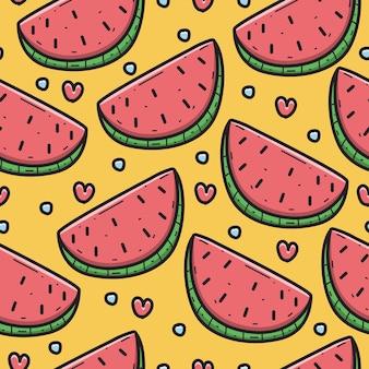 Motif de doodle de dessin animé de pastèque