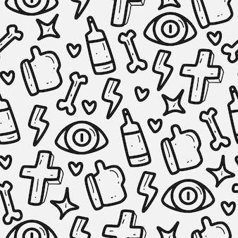 Motif de doodle de dessin animé