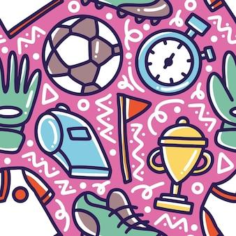 Motif de doodle de dessin à la main de football avec des icônes et des éléments de conception