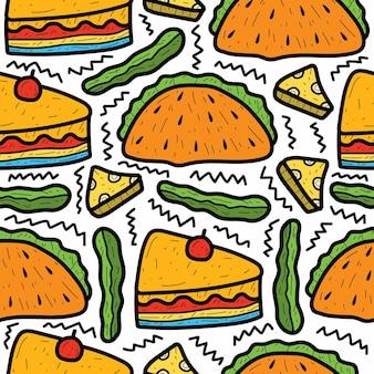 Motif de doodle de nourriture de dessin animé dessiné à la main