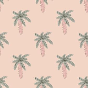 Motif de doodle transparente avec des formes exotiques de palmiers pâles