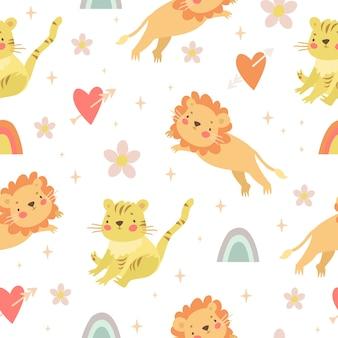 Motif doux avec lion et tigre