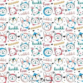 Motif drôle d'animaux et de mots doodle