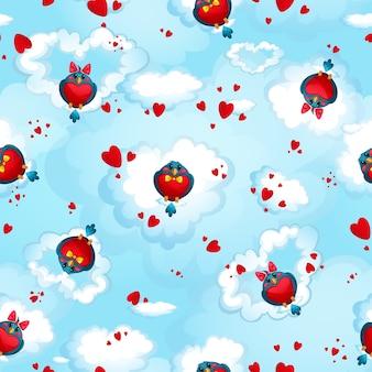 Motif de drôles d'oiseaux en forme de coeurs
