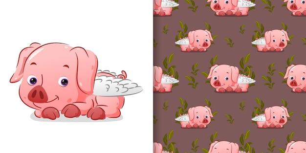 Motif du cochon cupidon mignon s'allonger sur la boue avec le visage mignon