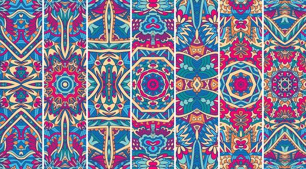 Le motif du festival mandala définit un motif d'impression psychédélique. collection de bannières géométriques tribales ethniques