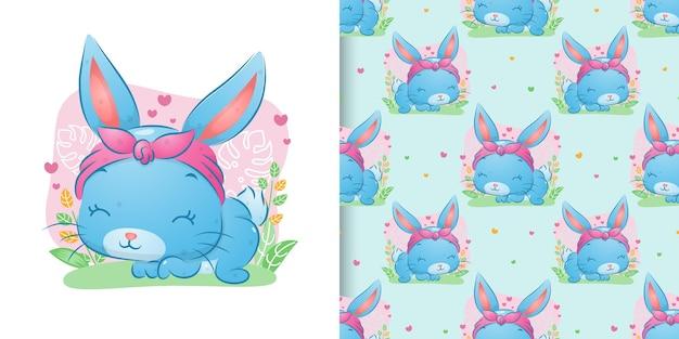 Le motif du lapin mignon avec le bandeau en cours d'exécution dans le jardin de l'illustration
