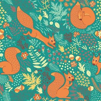 Motif d'écureuils dans les bois