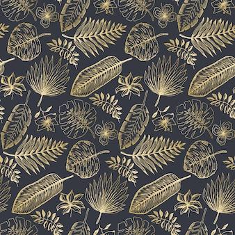 Motif élégant avec des feuilles tropicales dorées