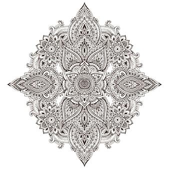 Motif d'éléments floraux au henné basé sur des ornements asiatiques traditionnels
