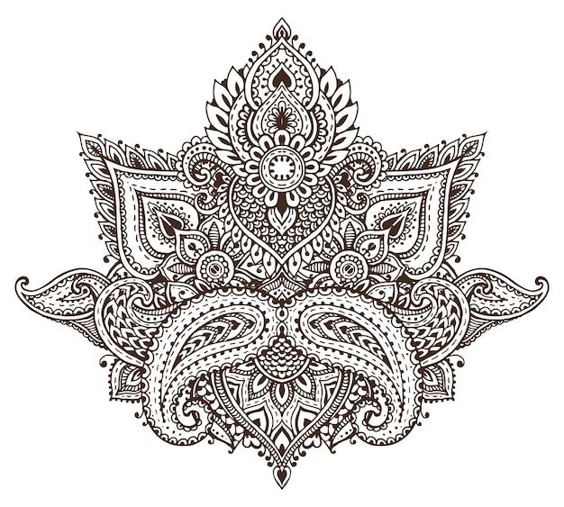 Motif d'éléments floraux au henné basés sur des ornements asiatiques traditionnels