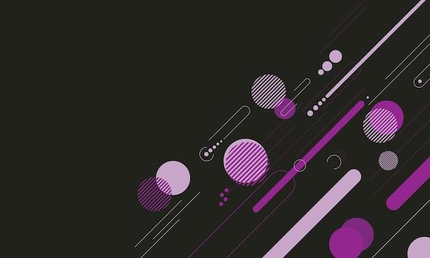 Motif d'éléments géométriques dynamiques abstrait violet sur fond noir. conception pour flyer.