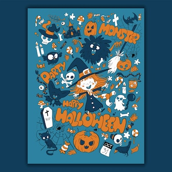 Motif et éléments pour la nuit d'halloween