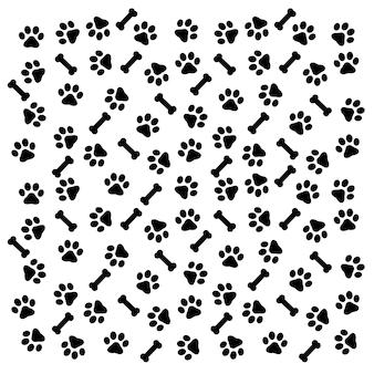 Motif empreintes de pas d'un chien ou d'un chat. vecteur de silhouette isolé.