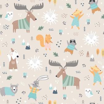 Motif enfantin sans couture avec des animaux des bois. cerf mignon, ours, raton laveur, renard, personnages drôles.