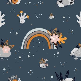Motif enfantin sans couture avec arc-en-ciel, récifs coralliens de dessin animé. monde sous marin