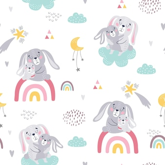 Motif enfantin sans couture de lapins mignons.